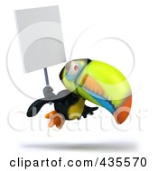 Royalty Free RF Clipart Illustration Of A 3d Toucan Holding Up A Blank Sign