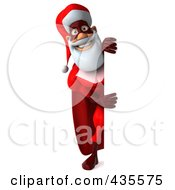 Royalty Free RF Clipart Illustration Of A 3d Super Santa With A Blank Sign 3