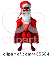 Royalty Free RF Clipart Illustration Of A 3d Super Santa Standing And Facing Front by Julos
