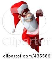 Royalty Free RF Clipart Illustration Of A 3d Super Santa With A Blank Sign 4