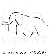 Royalty-Free (RF) Clipart Illustration of a Black Sketched Elephant by stephjs #COLLC435597-0162