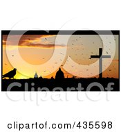 Royalty Free RF Clipart Illustration Of A Silhouetted Bird Against The Vatican City At Sunset by MacX