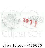 Royalty Free RF Clipart Illustration Of A 3d Red 2011 Standing Out From White Years by KJ Pargeter