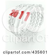 Royalty Free RF Clipart Illustration Of A 3d Red 2011 Standing Out In A Ring Of White Years by KJ Pargeter