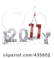 Royalty Free RF Clipart Illustration Of A 3d White People Crew Setting Up The New Year Of 2011 by KJ Pargeter