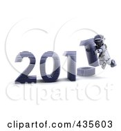 Royalty Free RF Clipart Illustration Of A 3d Robot Assembling The Year 2011 2 by KJ Pargeter
