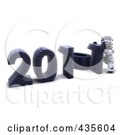 Royalty Free RF Clipart Illustration Of A 3d Robot Assembling The Year 2011 1 by KJ Pargeter