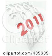 Royalty Free RF Clipart Illustration Of A 3d Red 2011 Standing Out In A Curve Of White Years by KJ Pargeter
