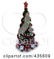 Royalty Free RF Clipart Illustration Of A 3d Spiral Garland Christmas Tree With Red Ornaments