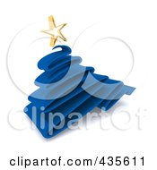 Royalty Free RF Clipart Illustration Of A 3d Blue Scribble Christmas Tree