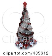 Royalty Free RF Clipart Illustration Of A 3d White Christmas Tree With Red Ornaments