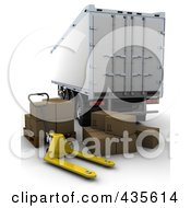 Royalty Free RF Clipart Illustration Of A 3d Freight Trailer With Boxes And A Dolly