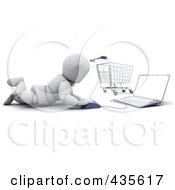 Royalty Free RF Clipart Illustration Of A 3d White Character Shopping Online With A Cart In The Background by KJ Pargeter