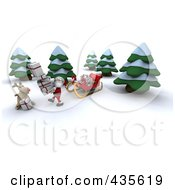 Royalty Free RF Clipart Illustration Of A 3d Santa And Rudolph Carrying Gifts From A Sleigh By Trees