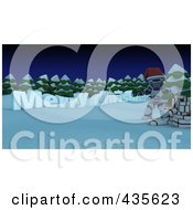 Royalty Free RF Clipart Illustration Of 3d Merry Christmas Text Along Trees With A Santa Robot And Gifts In The Snow