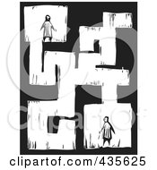 Black And White Woodcut Style Maze With Two People