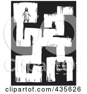 Royalty Free RF Clipart Illustration Of A Black And White Woodcut Style Maze Of A Person And A Monster by xunantunich