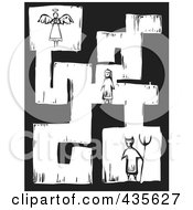 Royalty Free RF Clipart Illustration Of A Black And White Woodcut Style Maze Of A Girl With An Angel And Devil by xunantunich