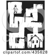 Black And White Woodcut Style Person In A Maze Searching For A House
