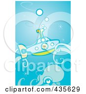 Royalty Free RF Clipart Illustration Of A Boy In A Submarine Passing A Giant Squid by xunantunich