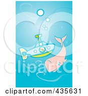 Royalty Free RF Clipart Illustration Of A Boy In A Submarine Passing A Whale by xunantunich