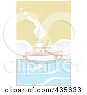Royalty Free RF Clipart Illustration Of A Boat At Sea