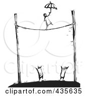 Royalty Free RF Clipart Illustration Of A Black And White Woodcut Style Person Walking A Tightrope With An Umbrella