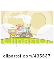Royalty Free RF Clipart Illustration Of A Steam Engine Train On A Hill