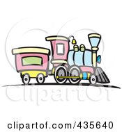 Royalty Free RF Clipart Illustration Of A Steam Engine Train by xunantunich