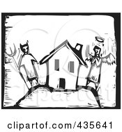 Black And White Woodcut Style Angel And Devil By A House