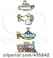 Royalty Free RF Clipart Illustration Of A Digital Collage Of A Steam Engine Train Airplane Submarine And Tugboat by xunantunich