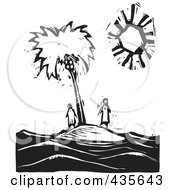 Royalty Free RF Clipart Illustration Of A Black And White Woodcut Style Couple Stranded On An Island by xunantunich