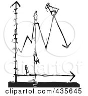 Royalty Free RF Clipart Illustration Of A Black And White Woodcut Style Line Graph With People