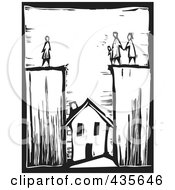 Black And White Woodcut Style Family Divided With Their House Below