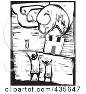 Black And White Woodcut Style House Burning