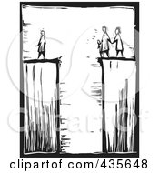Royalty Free RF Clipart Illustration Of A Black And White Woodcut Style Family Divided