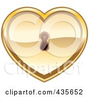 Royalty Free RF Clipart Illustration Of A Shiny Gold Heart With A Key Hole