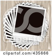 Royalty Free RF Clipart Illustration Of A Twisted Pile Of Blank Polaroid Pictures by Arena Creative