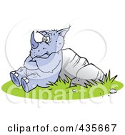 Royalty Free RF Clipart Illustration Of A Pouting Rhino Leaning Against Boulders