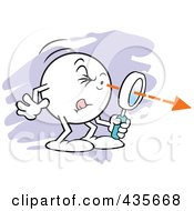 Royalty Free RF Clipart Illustration Of A Moodie Character Squinting Through A Magnifying Glass Over Purple by Johnny Sajem