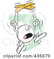Royalty Free RF Clipart Illustration Of A Horrified Moodie Character Puppet Over Green Squiggles