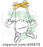 Royalty Free RF Clipart Illustration Of A Confused Moodie Character Puppet Over Green Squiggles
