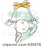 Royalty Free RF Clipart Illustration Of An Unsure Moodie Character Puppet Over Green Squiggles