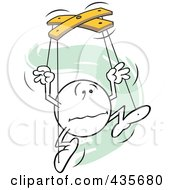 Royalty Free RF Clipart Illustration Of A Distraught Moodie Character Puppet Over Green Squiggles