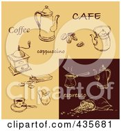 Royalty Free RF Clipart Illustration Of A Digital Collage Of Espresso And Tan Cappuccino And Coffee Sketches by Eugene