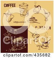Royalty Free RF Clipart Illustration Of A Digital Collage Of Brown And Tan Cafe And Coffee Sketches by Eugene
