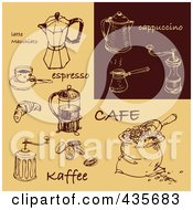 Royalty Free RF Clipart Illustration Of A Digital Collage Of Brown And Tan Cappuccino And Coffee Sketches by Eugene