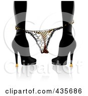 Royalty-Free (RF) Clipart Illustration of a Silhouetted Woman In Heels, Her Thong Panties At Her Ankles by MilsiArt
