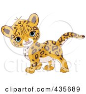 Royalty Free RF Clipart Illustration Of A Cute Baby Jaguar Walking By by Pushkin
