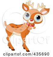 Royalty Free RF Clipart Illustration Of A Cute Baby Rudolph With A Bell Collar by Pushkin